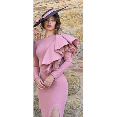 Vestido bicolor volante