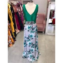 Vestido bicolor verde