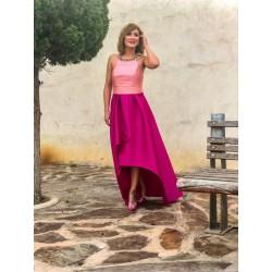 Vestido bicolor nude/rosa