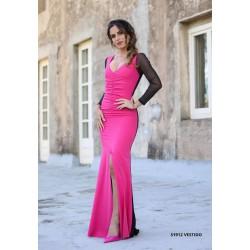 Vestido tul bicolor rosa/negro